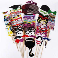 Popular 76Pcs MoustacheOn A Stick Wedding Party Photo Booth Props Photobooth Funny Masks Bridesmaid Gifts For Wedding Decoration