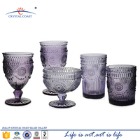 cheap glass goblet;candle holder glass goblet;colored glass goblet