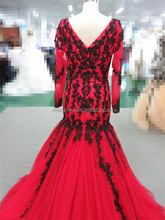 Ladies DressT-E0006 Sex Long Sleeve Black and Red Evening Dresses