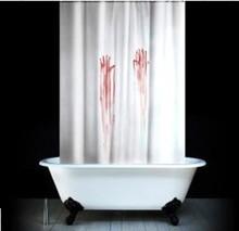 2014 de europa y américa creativa de sangre de la mano de poliéster cortina de ducha original de un solo punto
