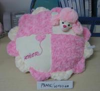 Comfortable Soft round shape OEM Valentine 3D dog head pink rose plush pillow