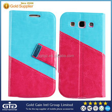 Dual color flip cover case for samsung S3 i9300 with card slot