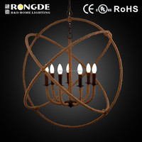 Modern ball shape jute rope chandelier lamp with 7 bulbs