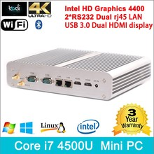Multimedia pc i7 desktop Windows 8.1 4K HD Tv Box Gaming pc 300M wifi Dual antennas mini computer case Aluminium case