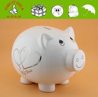 Large ceramic piggy bank for wedding gift. Giant piggy money bank to keep wedding fund.