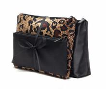 Fashion sexy leopard three-piece cosmetic bag