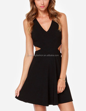 CHEFON Plunging v front and back cutout black sexy princess frock design dress