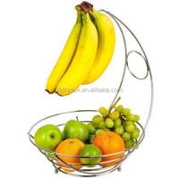 Fruit Bowl Banana Hanger Storage Chrome Fruit Basket