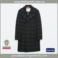Hot Selling Brand Name New Design Grid Warm Winter Fashion Men's Wool Long Coat