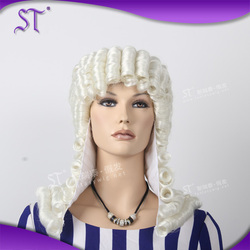 high quality medium length white body wave synthetic powdered wigs for party and halloween