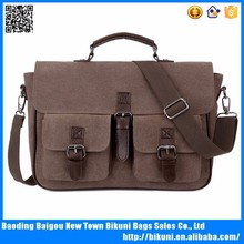 2015 China baigou wholesale vintage leather and canvas briefcase for men