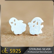 lovely gift for girls golden and silver 925 Sterling Silver cute ghost design ear studs earring