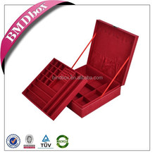 Hot selling custom pure handmade faux suede square box jewelry for lady