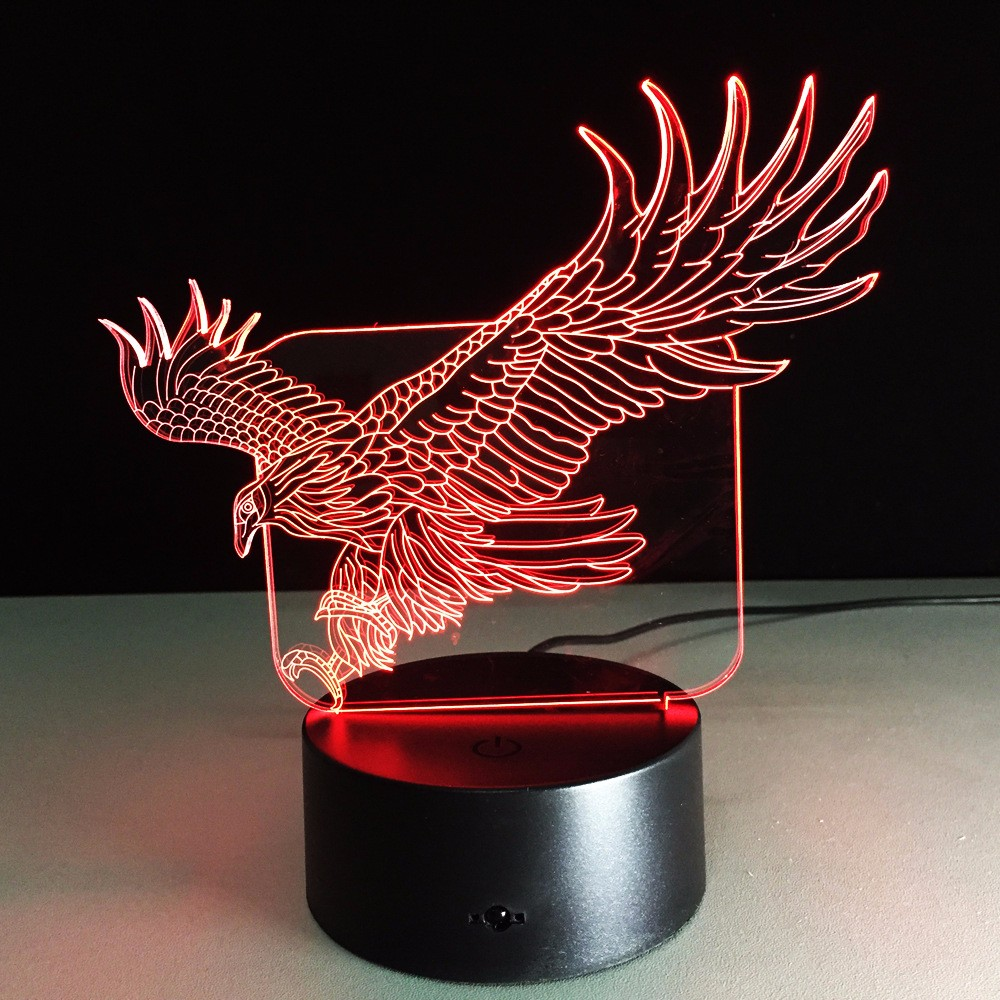 크리스마스 장식 창조적 인 3D 환상 램프 LED 밤 빛 독수리 디자인 ...