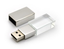 hot crystal glass usb flash drive with logo laser inside