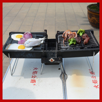 stainless steel camping portable barbecue non stick grill pan