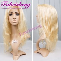 Top Quality Natural Looking Wavy Mongolian Hair Blonde Jewish Kosher Sheitel Wig