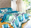 paisaje diseño 3d lecho con funda nórdica llanura sábanas y fundas de almohada