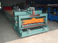 roof plate glazed tile machinery, steel galzed step tile pressing cutting machine