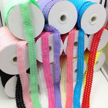 High Quality 3/4inch Frilly Elastic Lace Ribbon for Elastic HairBand Headband Headwear 13Colors Stock Free Shipping by Express