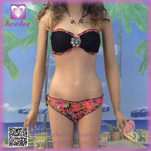 Sexy Fiesta Bandeau bikini PP4242 Swimwear Nueva llegada Sexy Bikinis con tirantes para mujeres