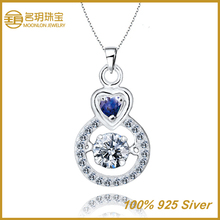 Fake sapphire gemstone pendant, 925 silver jewelry for pinky style