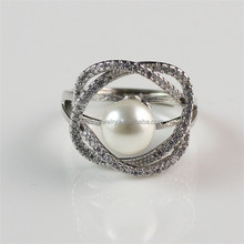 Jewelry For Women Wedding Gift 925 Silver Filled White Zircon and Big Pearl Ring