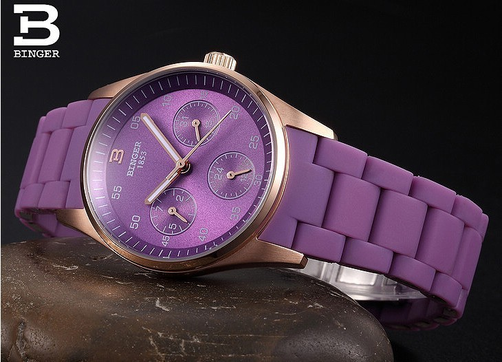 Новое Прибытие в Исходном Люксовый Бренд Бингер Кварц Часы Женщины стали Сапфир Водонепроницаемый Аналоговые Наручные Часы Светло-Розовый Часы