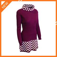 2015 lastest design turtleneck long sleeve white stripe fashion girl dress