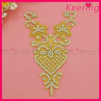Gold backing beaded clear rhinestone applique bridal motif WRA-536