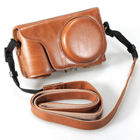 Brown PU Leather Camera Case Protective Cover Bag Three Color for Samsung Galaxy EK-GC200 GC200 With Shoulder Strap