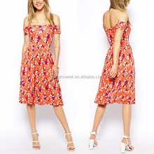 New Arrival OEM ODM Latest Off Shoulder Design Summer Print Dress