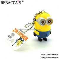 Despicable me minions figure 3D soft PVC keychain With clock
