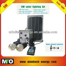 Mini home 5w solar panel with 2pcs led bulbs solar kit for lighting