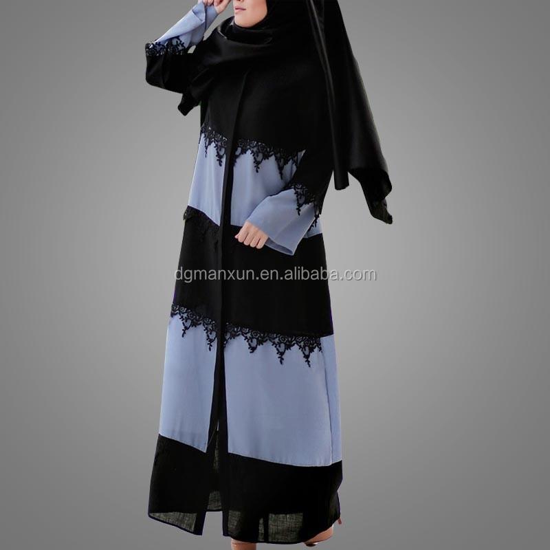 Muslim religious items wholesale front open abaya  lace abaya  Kaftan dubai 2017 (4).jpg