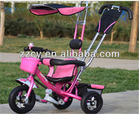 2015 popular children tricycle/stroller/carrier for baby/children ride-on toy with Pushbar Canopy EVA tire