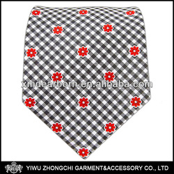 Flowers - Charcoal/Red Silk Gingham Ties