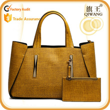 Hot sell popular classic ladies leather yellow tote bag