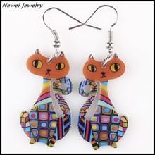 Newei 2015 Fashion Jewelry Earrings Double Side Printing Cat Dangle Earrings Acrylic Drop Earrings