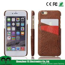 credit card slot crocodile pu leather case for iphone 6 back cover