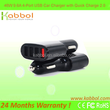 Quick Charge 2.0 9.6A/ 48W 4 Port USB Car Charger with Intelligent Charging Technology for iPhone, iPad, Samsung Galaxy S6 / S6
