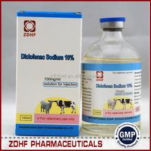 Gmp ganado fowl fiebre medicina antipirético 10% diclofenac sodio inyección