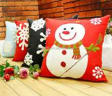 Factory outlet sofa decorative backrest snow,snowman,santa claus knitted festival gift christmas cotton cushion cover