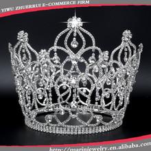 Fashion tall pageant crown tiaraHG004large bridal rhinestone crown pageant tiara