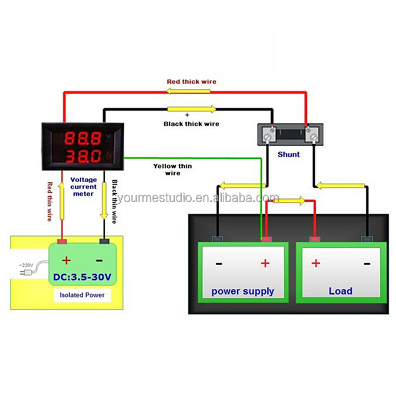 supplier 0 28 5 wires blue red led digital dual dc 100v 50a rh alibaba com dc ammeter shunt wiring diagram dc ammeter shunt wiring diagram