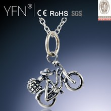 Fine Lady Charm Necklace,Girl Bicycle Sterling Silver Charm Necklace