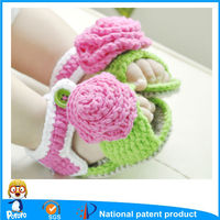 Pororo Knitting Baby Shoes, Baby Walking Shoes With Flower