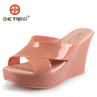 2014 Ladies Fashion Wedges Heel PVC Jelly Slippers shoes Sweet Glass plastic hight quality sandal melissa shoes for women