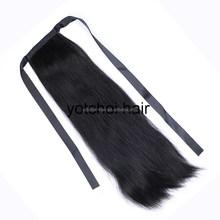 100% unprocessed indian remi virgin hair weave human hair drawstring ponytail
