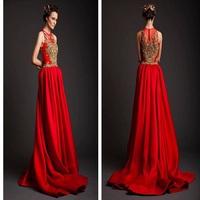 Elegant Zuhair Murad Red A Line Lace Applique Hong Kong Evening Dress Wholesale, Arabic Evening Dress